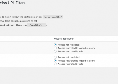 URL filtering access restrictions